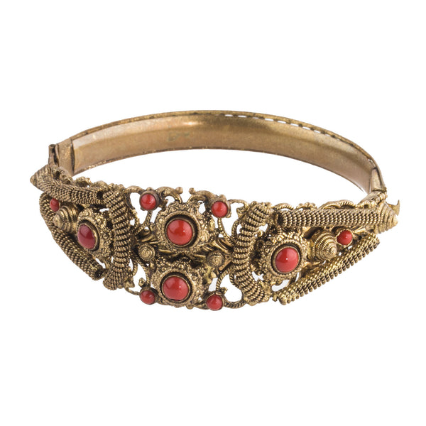 brbg895(e)-Antique Victorian Etruscan Revival Bohemian Brass and Coral Glass Hinged Bangle Bracelet