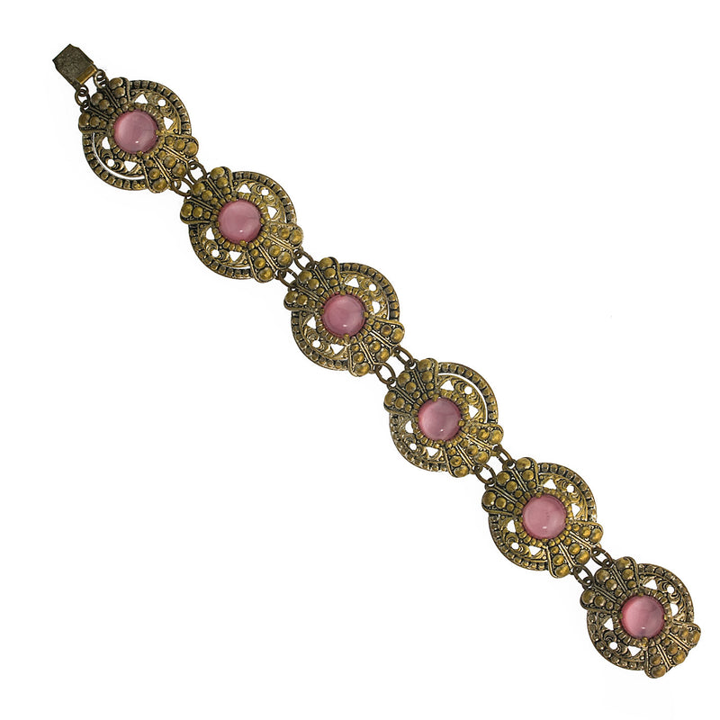 Vintage Art Deco brass and pink cats eye glass link bracelet. Czechoslovakia. brbg918