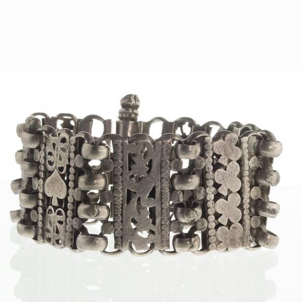 bret104cs(e)- Vintage India Madya Pradesh tribal solid sterling silver open-work link bracelet.