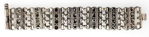 Vintage India Madya Pradesh tribal solid sterling silver open-work link bracelet. bret104cs