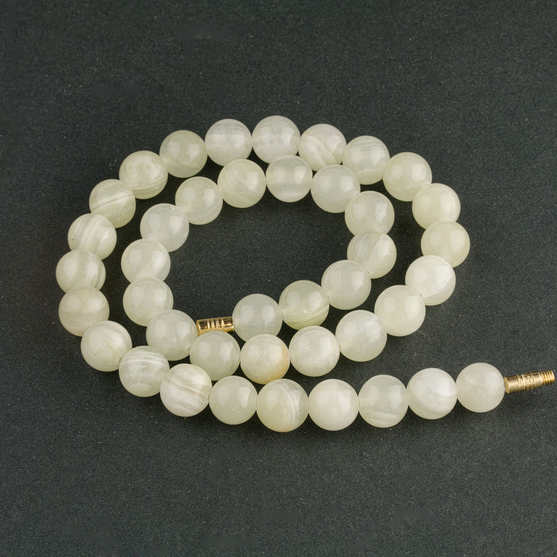 Vintage Italian onyx marble beads. 10mm.16 inch strand. b4-ony297