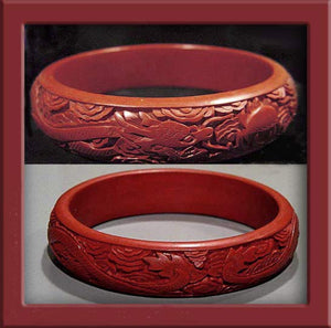 Vintage deep-carved cinnabar dragon bracelet 1970s China export. BROR780