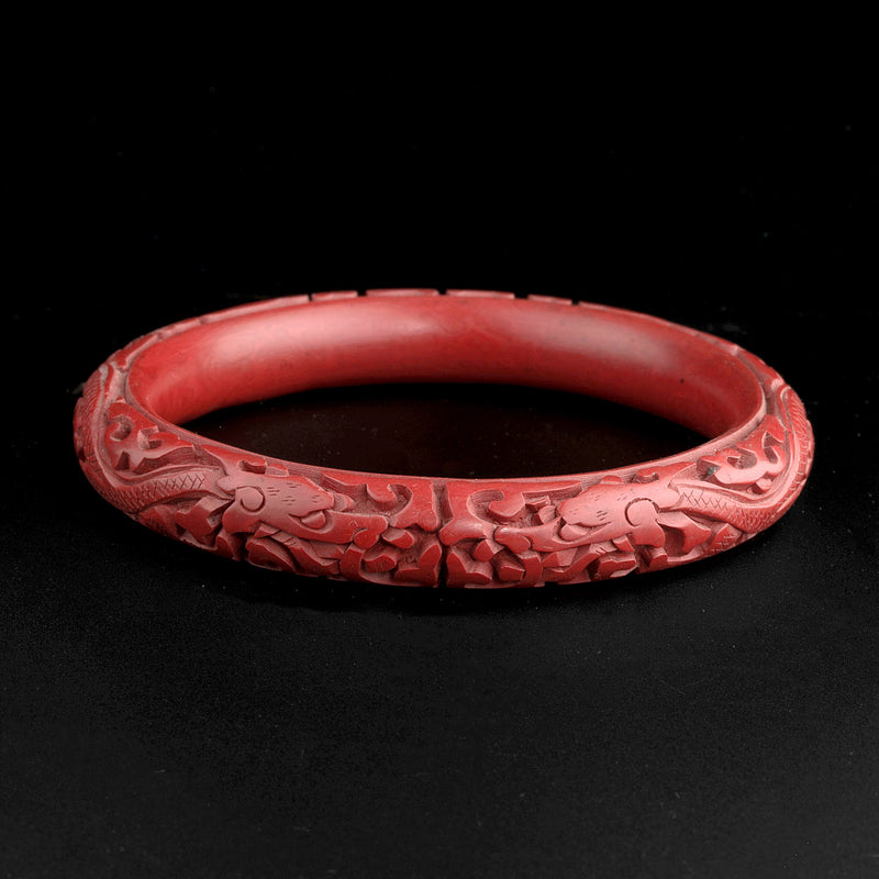 Vintage deep-carved cinnabar dragon bracelet 1970s China export. bror781