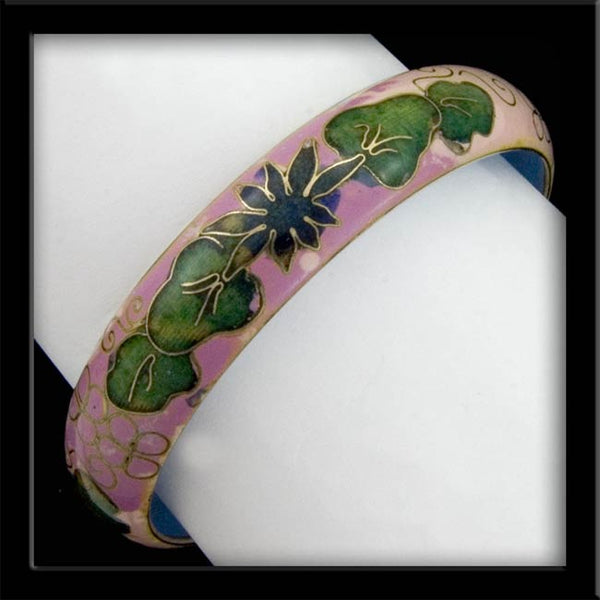 bror815(e)-Vintage cloisonne enamel on brass bangle