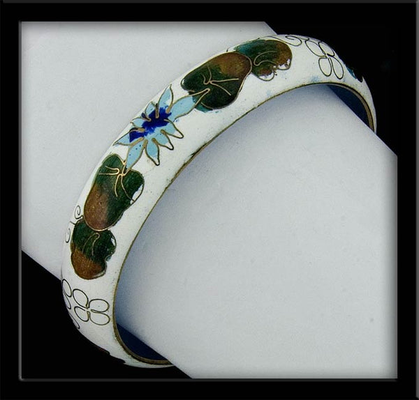 bror816(e)-Vintage cloisonne enamel on brass bangle