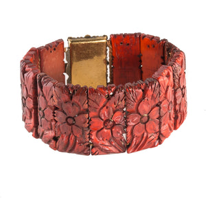 Vintage carved red stained bone ornamental link bracelet with brass filigree clasp, Chinea1970's. bror841