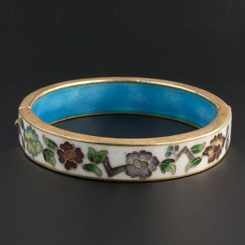 Vintage cloisonne enamel hinged bangle. bror847