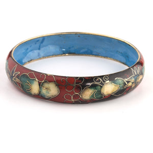 Vintage cloisonné enamel on brass bangle Chinese import 1960s. bror890