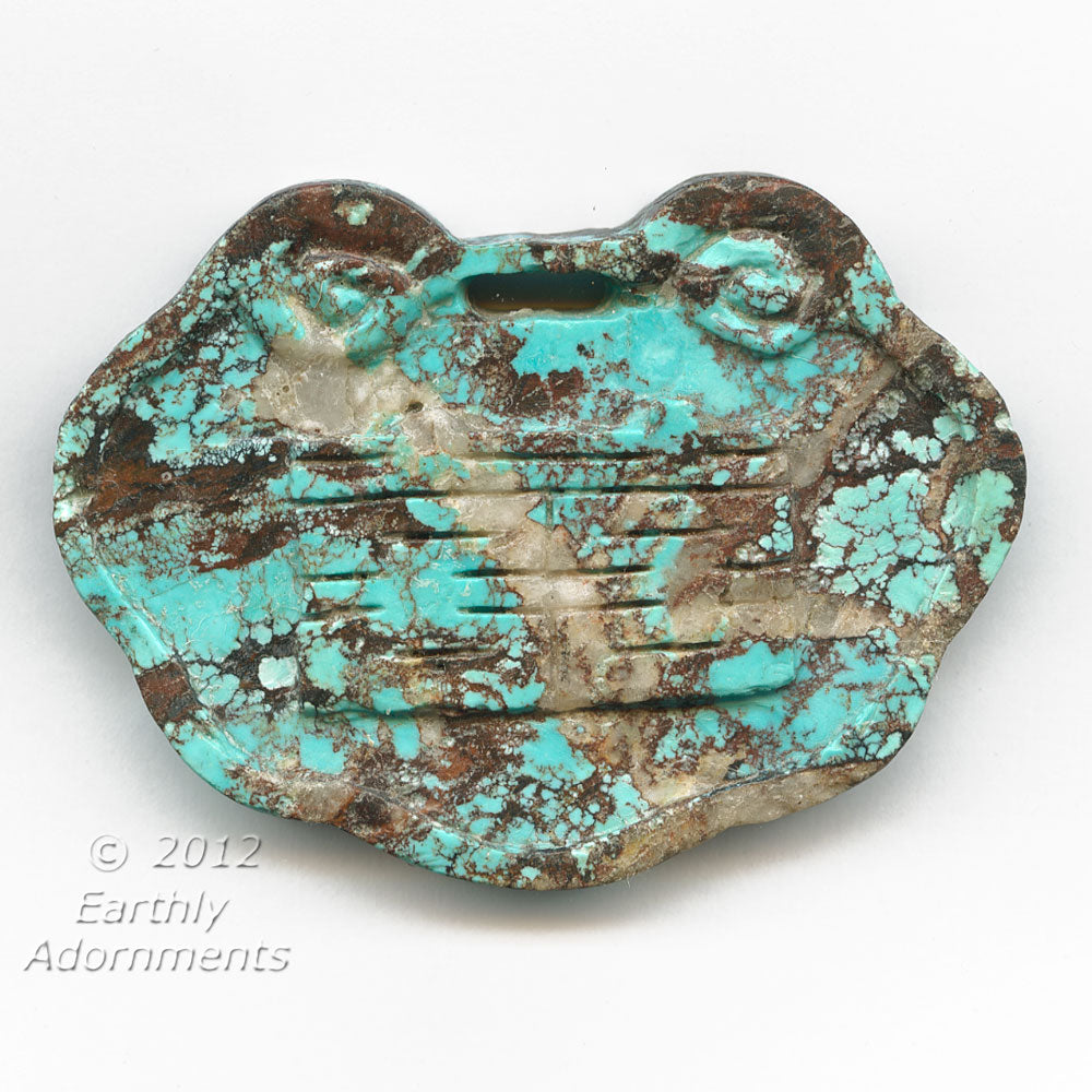 b4-tur407a-Vintage carved matrix turquoise lock pendant. 80x60x10mm. Pkg of 1