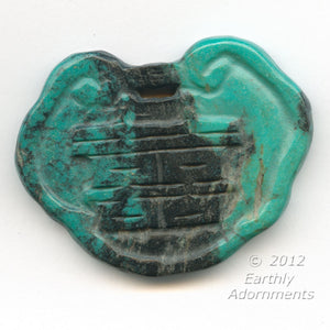 Vintage carved turquoise matrix lock pendant. 58x45mm. b4-tur407i