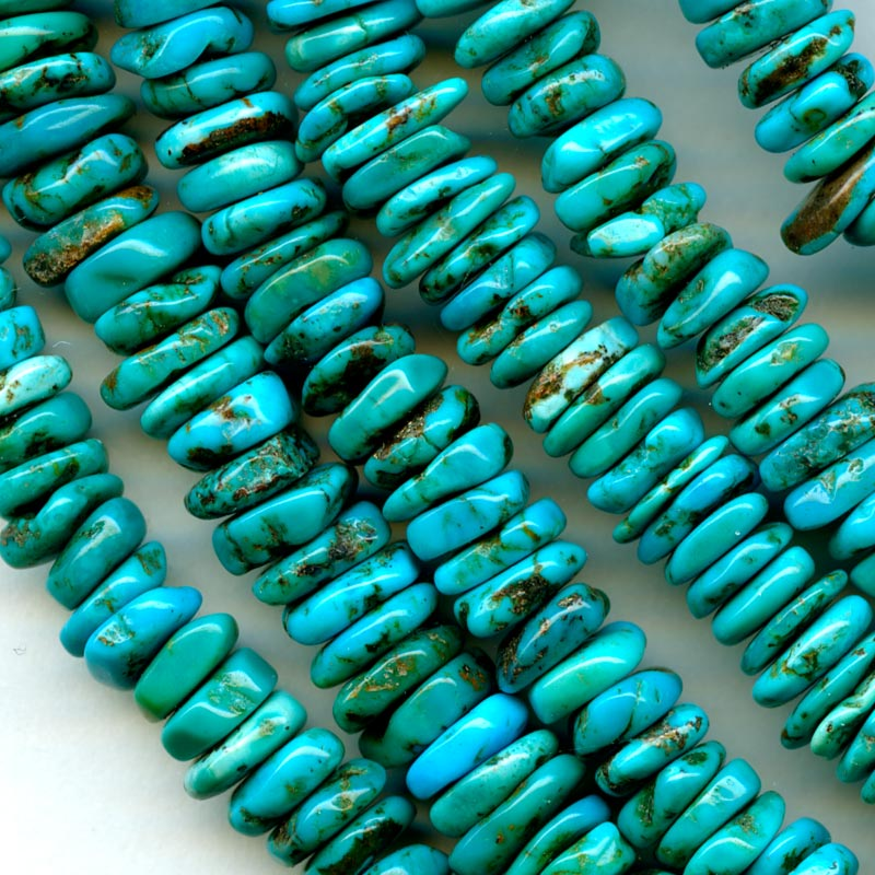Natural Chinese blue turquoise square heishi, 16 inch strand. b4-tur431