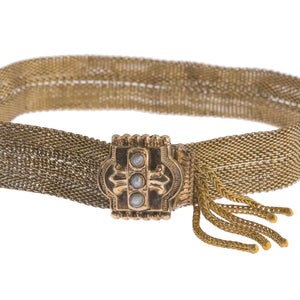 Antique Victorian Mesh slide seed pearl bracelet. Gold filled.  brvc360
