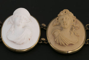 Antique Victorian Italian Grand Tour Lava cameo bracelet and matching earrings.   Original case brvc958