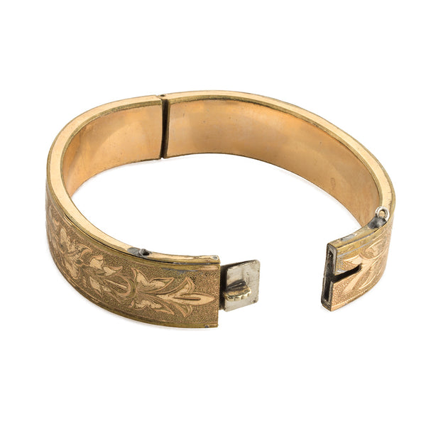 brvc357(e)-Victorian gold-washed engraved Greek revival bangle
