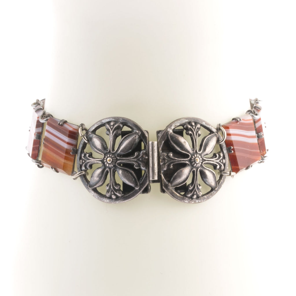 Vintage bracelet of red sardonyx stone links with fancy silver plated clasp brvn1009