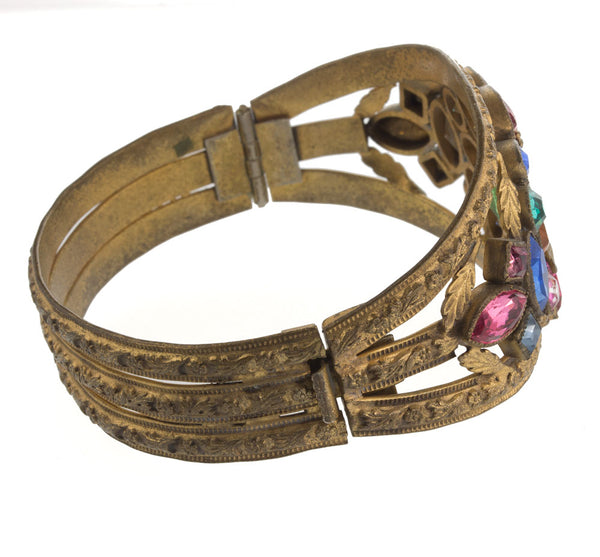 brvn109(e)-Vintage 1930's ornate jeweled gilt brass hinged bangle bracelet
