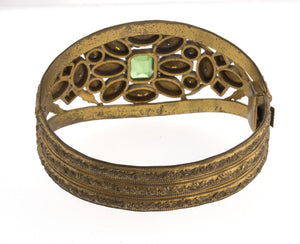Vintage 1930's ornate jeweled gilt brass hinged bangle bracelet. brvn109