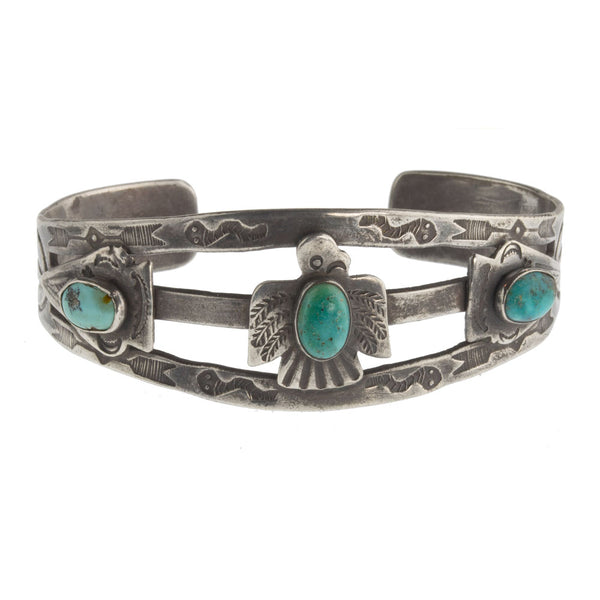 brvs911cs(e)- Vintage 30's-40's Fred Harvey style sterling silver and turquoise stamped split band cuff bracelet.