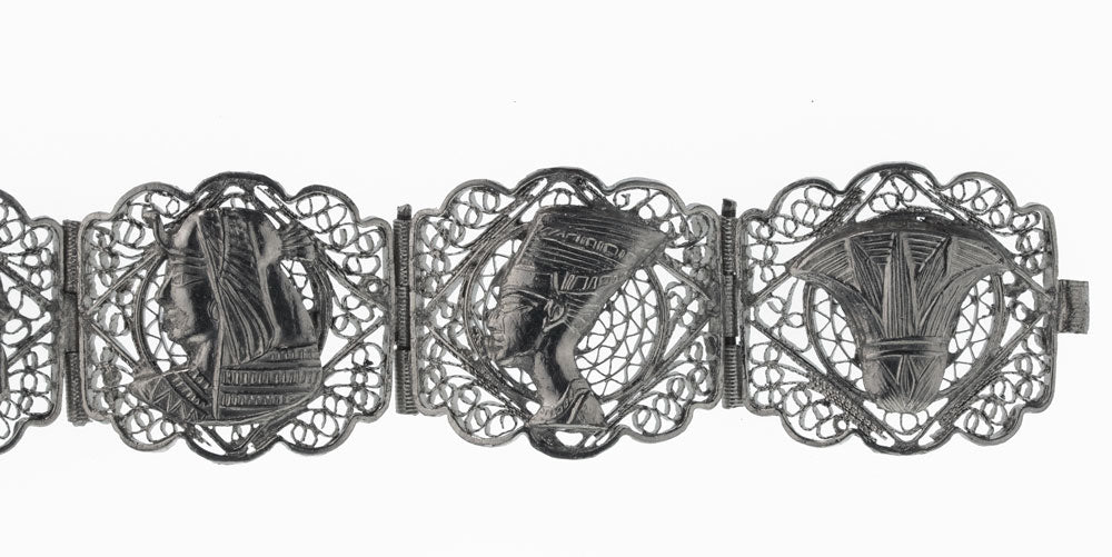 Vintage Egyptian revival 800 silver handmade filigree panel bracelet. brvs915
