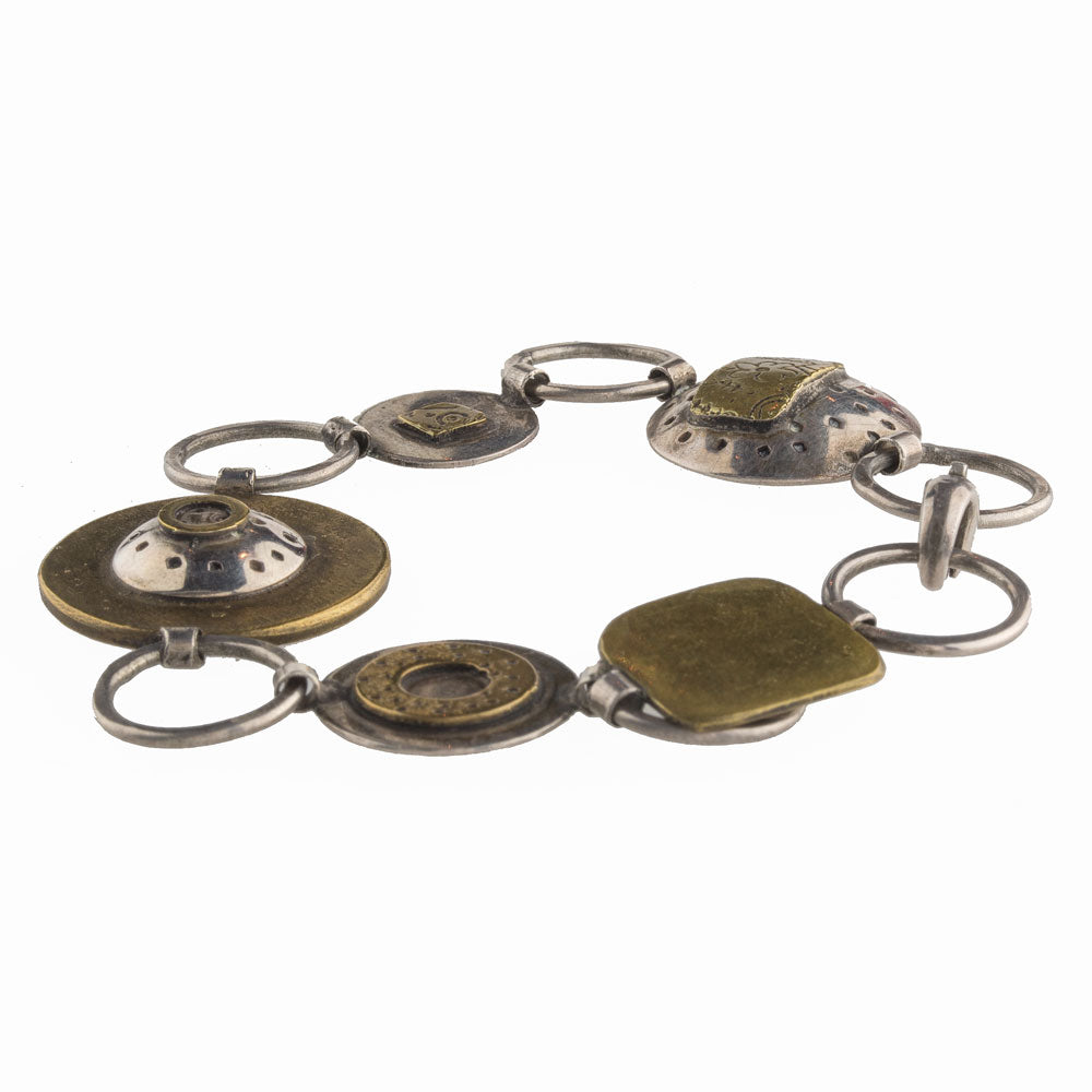 Sterling silver and bronze hand made contemporary sculptural link bracelet. brvs917cse
