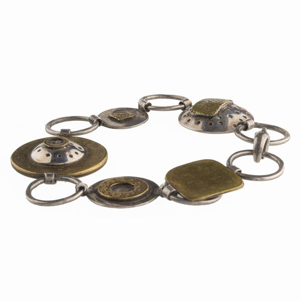 brvs917cs(e)- Sterling silver and bronze hand made contemporary sculptural link bracelet.