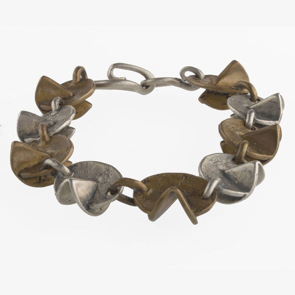 brvs919cs(e)- Sterling silver and bronze hand made contemporary sculptural link bracelet.