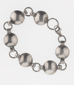 Sterling silver and bronze hand made contemporary sculptural link bracelet. brvs921cse