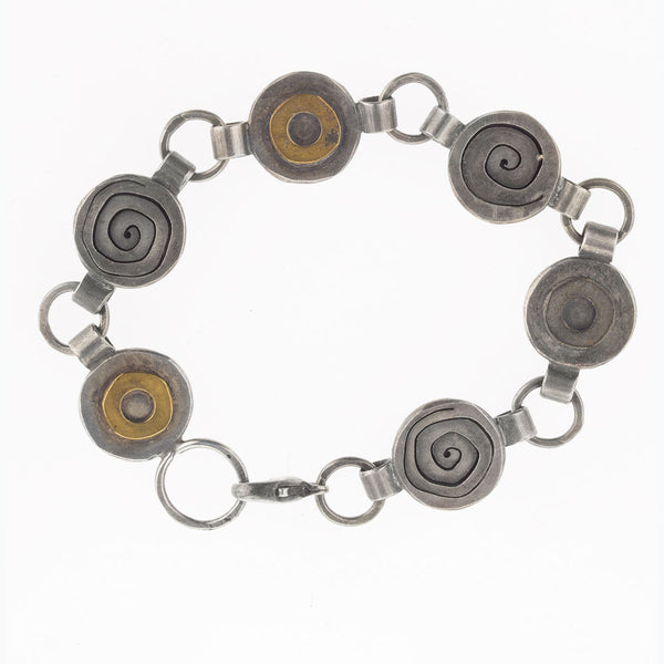 brvs921cs(e)- Sterling silver and bronze hand made contemporary sculptural link bracelet.