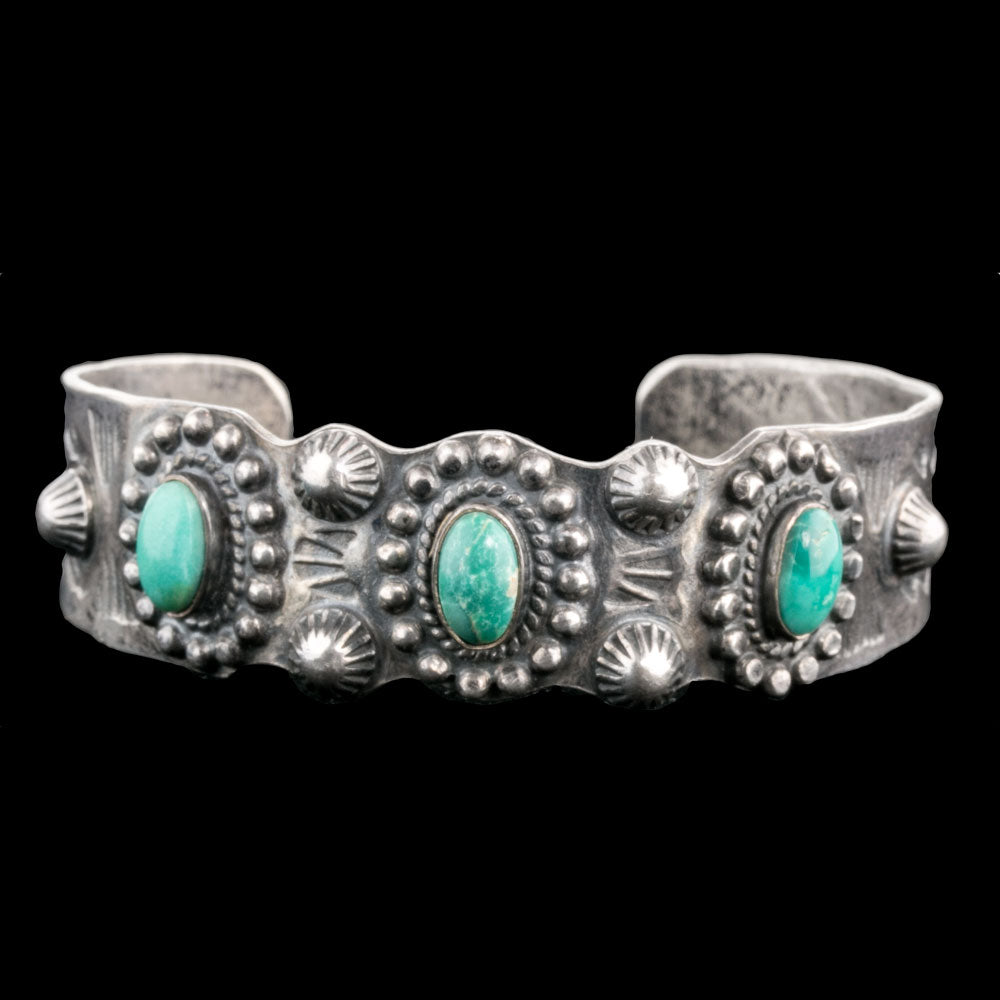 brvs932(e)cs- Vintage Fred Harvey style Navajo sterling silver and turquoise cuff bracelet c.1930