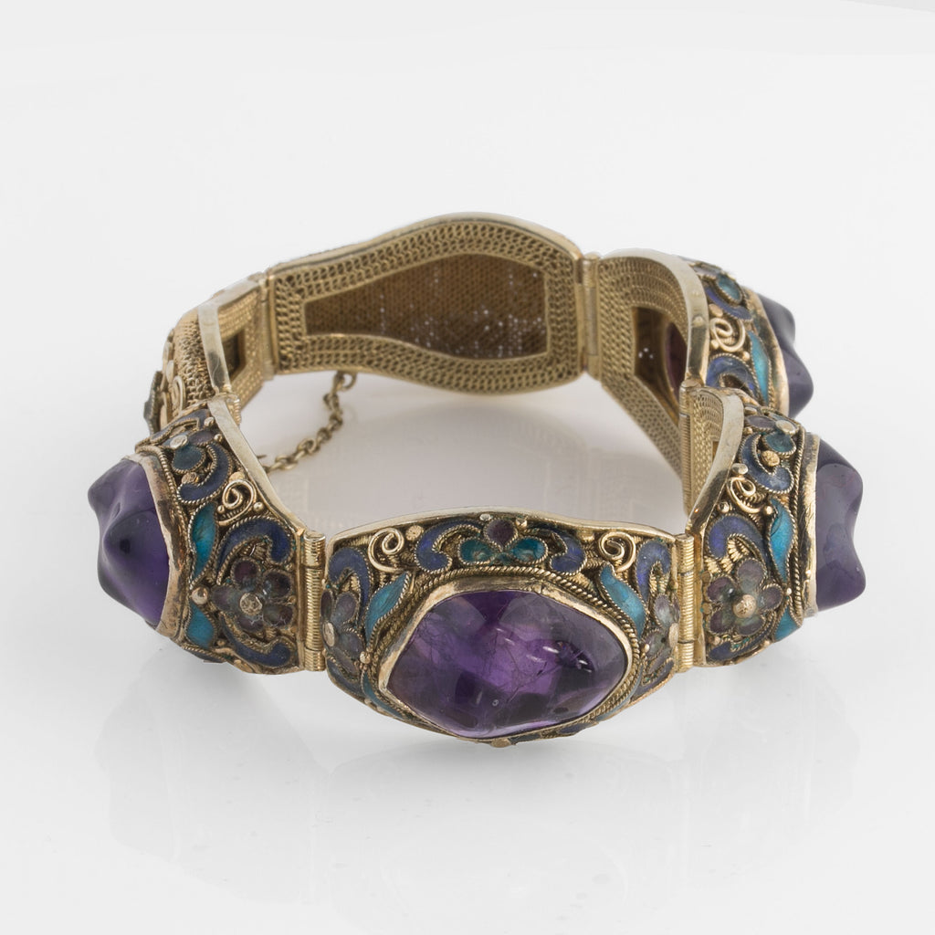 Vintage Vermeil gilt silver filigree link bracelet with Amethyst and enamel.Chinese export. brvs976