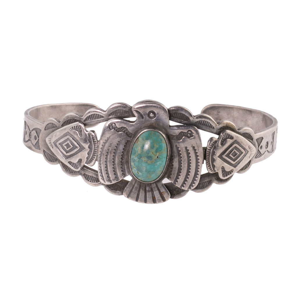 Vintage 30's-40's Fred Harvey style Navajo sterling silver and turquoise Thunderbird cuff bracelet. brvs977cs