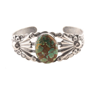 Vintage 30's-40's Fred Harvey style Navajo coin silver and turquoise cuff bracelet. brvs981cs