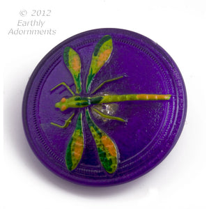 Czech molded glass Dragonfly button 30mm, sold individually. ac-bg-bt103