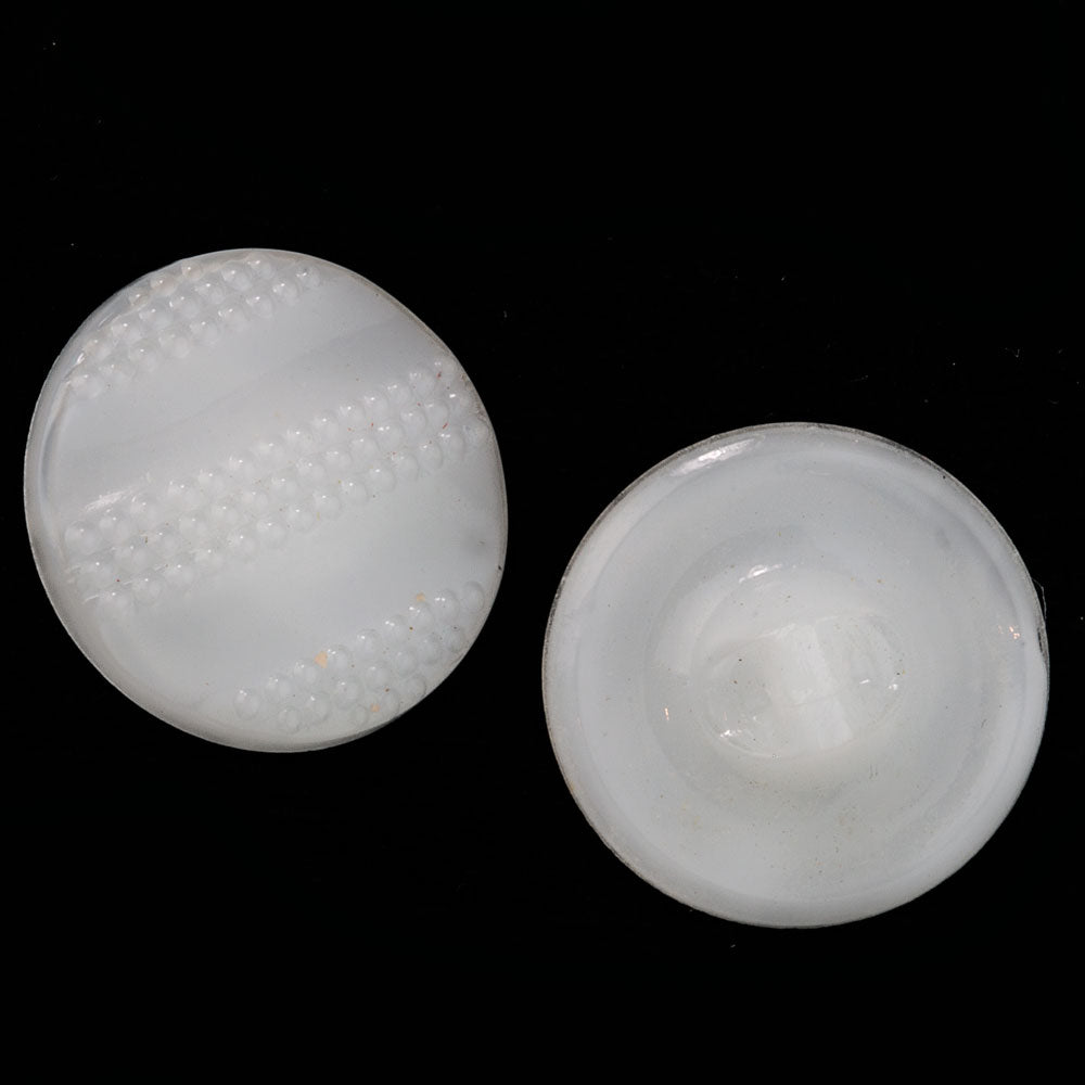 Vintage Czech molded pressed white opal glass buttons, 18mm. Package of 6. btbg582