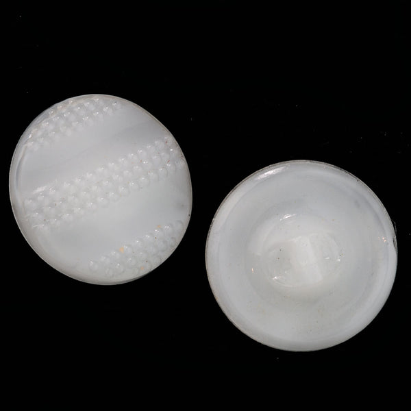 Vintage Czech molded pressed white opal glass buttons, 18mm. Package of 6. btbg582(e)