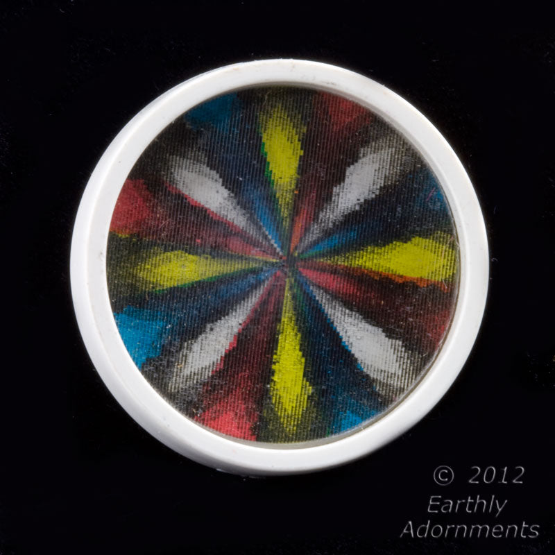 btbk100(e)-1960s kaleidoscopic mandala hologram button. 27x5mm
