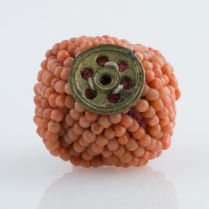 Chinese Qing Dynasty Mandarin Court woven coral hat finial button. btja101