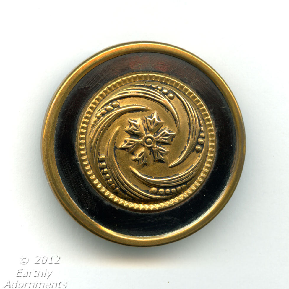 btvc264-Victorian ornamental brass with black enamel border steel back. 1.5 inches