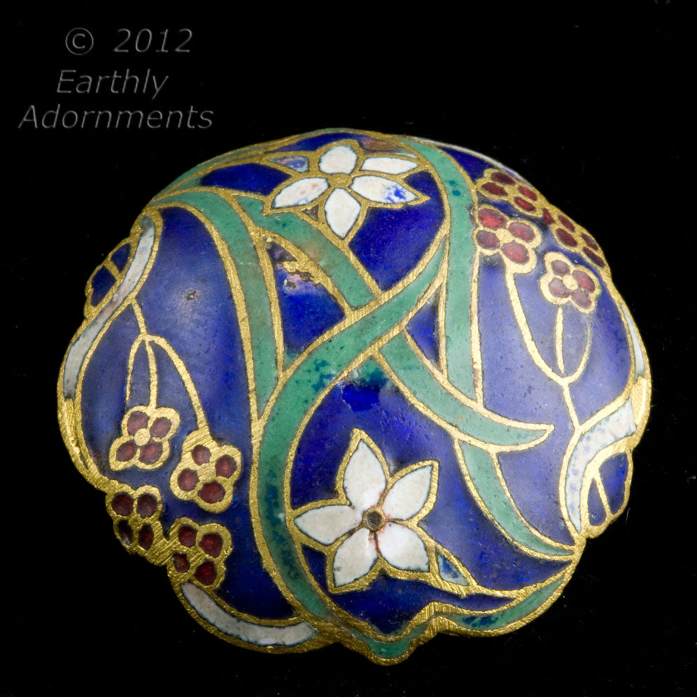 Antique Victorian brass  domed cloisonne  button. ac-vc-bt281