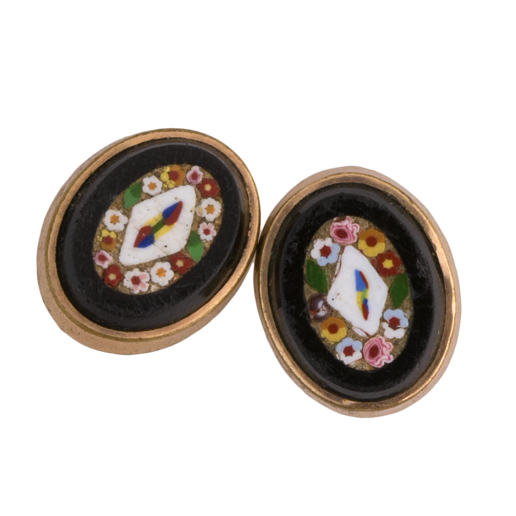 Antique Victorian gold filled Italian micro-mosaic button or cuff link studs. btvc804