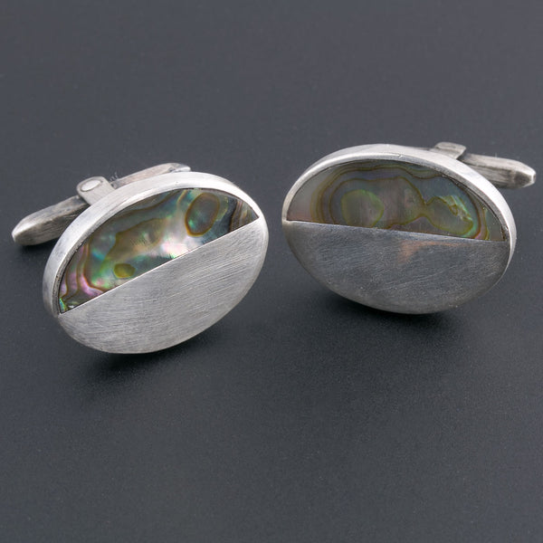 Vintage Taxco, Mexico sterling silver and abalone cuff links ,hallmarked. btvs105(e)
