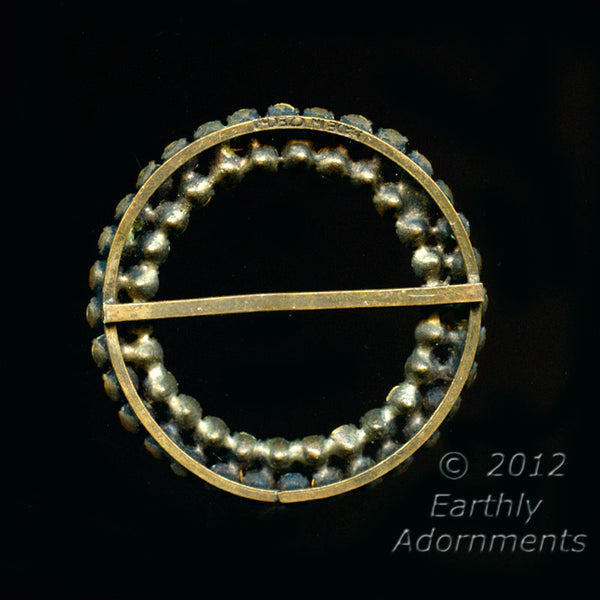1920's to 30s circular rhinestone and brass buckle Czecho. bubg105(e)
