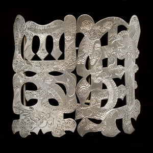 Old Chinese engraved solid silver Dragon wide buckle. Hallmarked buor101