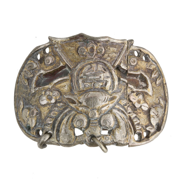 Antique Chinese Qing Dynasty Mandarin sleeve buckle in embossed bat design. buor1048(e)