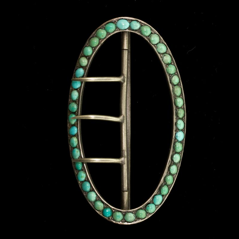 Victorian sterling silver buckle with Persian turquoise. buvc545