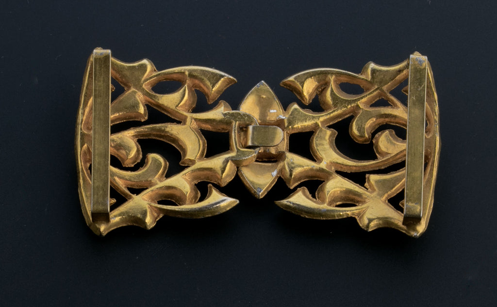 Vintage 2-part gilt metal rhinestone belt or sash buckle, 1930s buckle.  buvn623