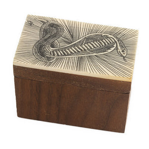 bxiv101-Walnut box with ivory scrimshaw lid