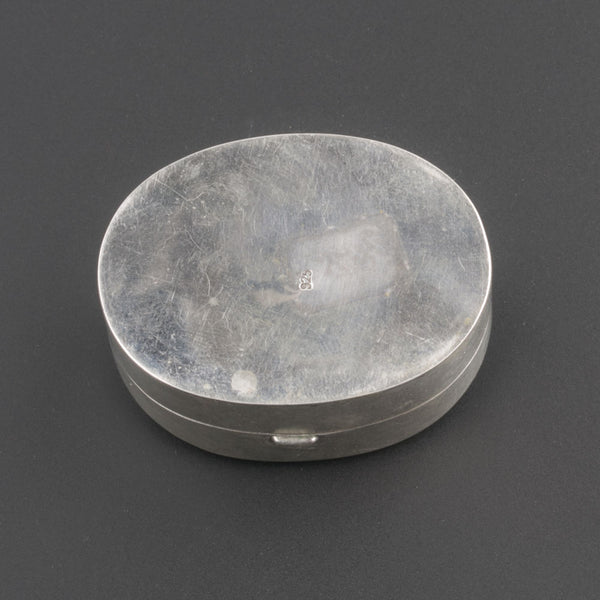 Sterling silver trinket box with antique Chinese Ming Dynasty blue and white porcelain shard.bxor107LC(e)