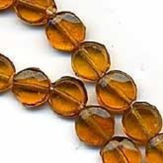 Old Bohemian flat transparent 5mm amber glass disks. Pkg of 10. b11-yo-0779