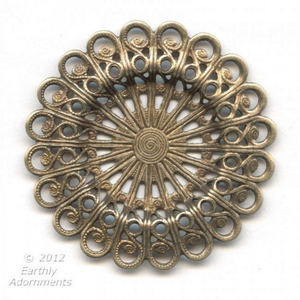 Oxidized brass 37mm diameter  filigree rosette with setting for cabochon or stone. 18-20mm. 1 pc. b9-2165